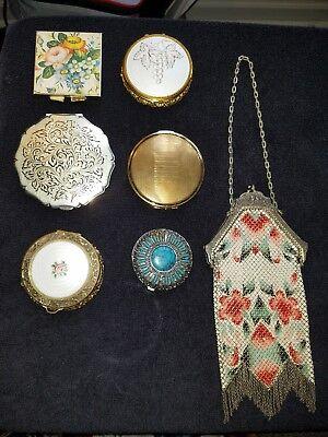Antique Art Deco Enamel Mesh Flapper Mandalian Mfg Co Vivid Colors and compacts
