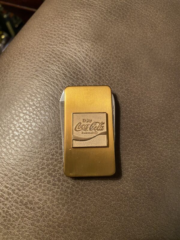 Rare Coca Cola Gold Pocket Knife Advertising 1 Blade 1 File Money Clip Vintage
