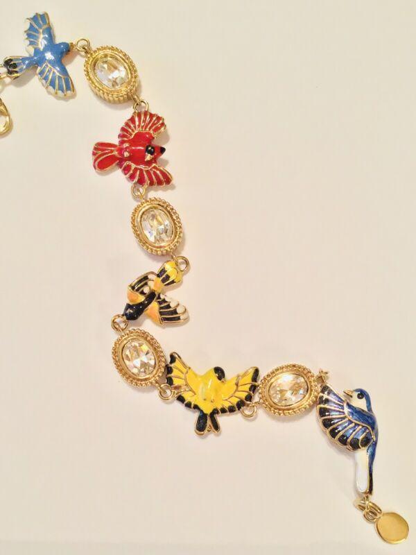 "The Danbury Mint Gold Tone Enamel Birds and Crystals Bracelet 7 1/2"" RARE"