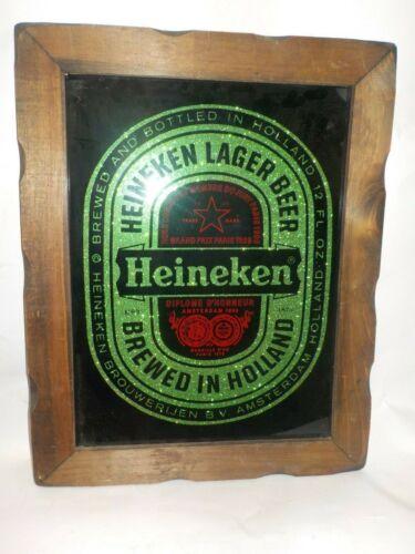 """Vintage Heineken Beer Sparkle Flake Bar Framed Mirror 15"""" x 19"""" Exc!"""