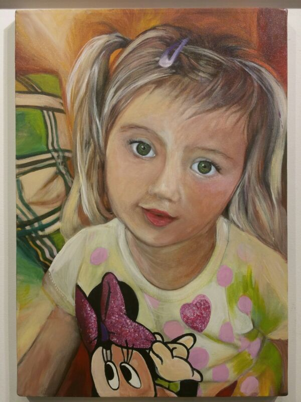 custom portrait painting, children, dogs, cats family aprox 20x16, sale