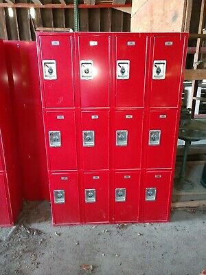 3 Tier 12 Door Metal Lockers Industrial Red Ga Bulldogs Mud Room Storage Cabinet
