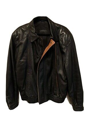 Bally Mens Italian Leather Jacket Size 42 Black Soft Leather / Brown Detailing Brown Soft Italian