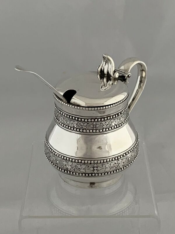 VICTORIAN Antique Silver Mustard Pot & Spoon 1870 London CHARLES FOX Sterling