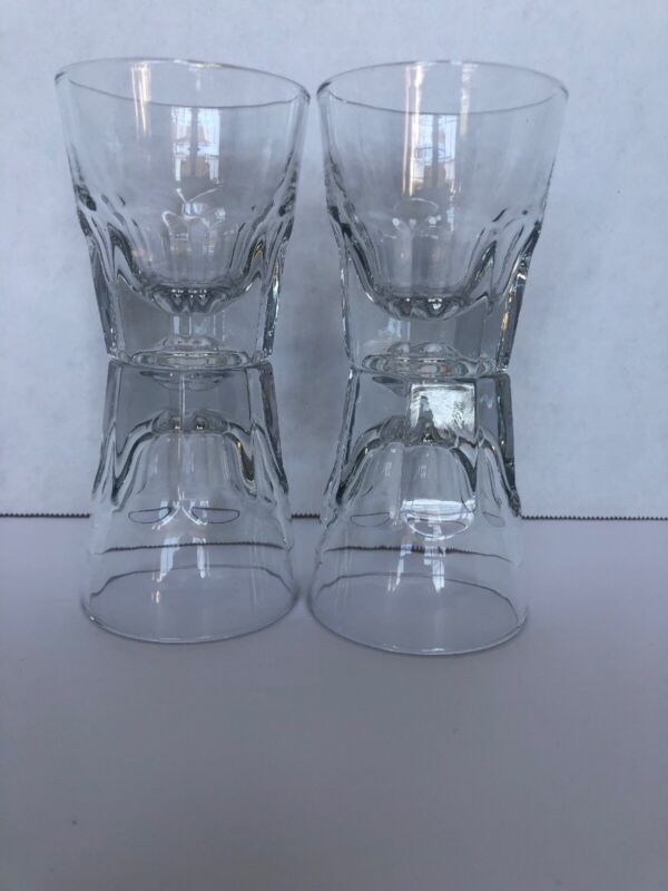 4 Libbey Duratuff Cortodo/ Clear Shot Glasses/ Gibraltar Rocks 4.5 oz
