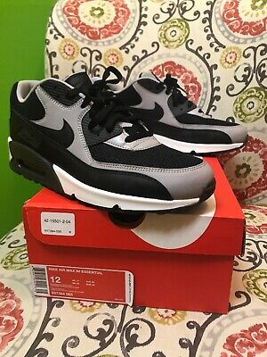 Nike New AIR MAX 90 ESSENTIAL SIZE 12 Mens Black Wolf Grey