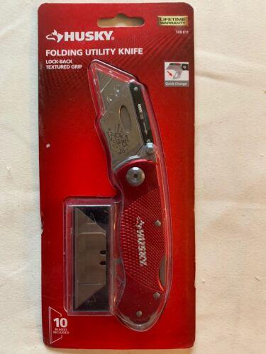 Husky 21113 Folding Sure-Grip Lock Back Utility Knife w/ 10