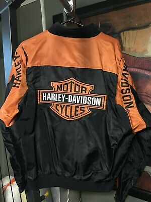 Harley Davidson Men's Black Orange Windbreaker Riding Jacket Size L Nylon Poly