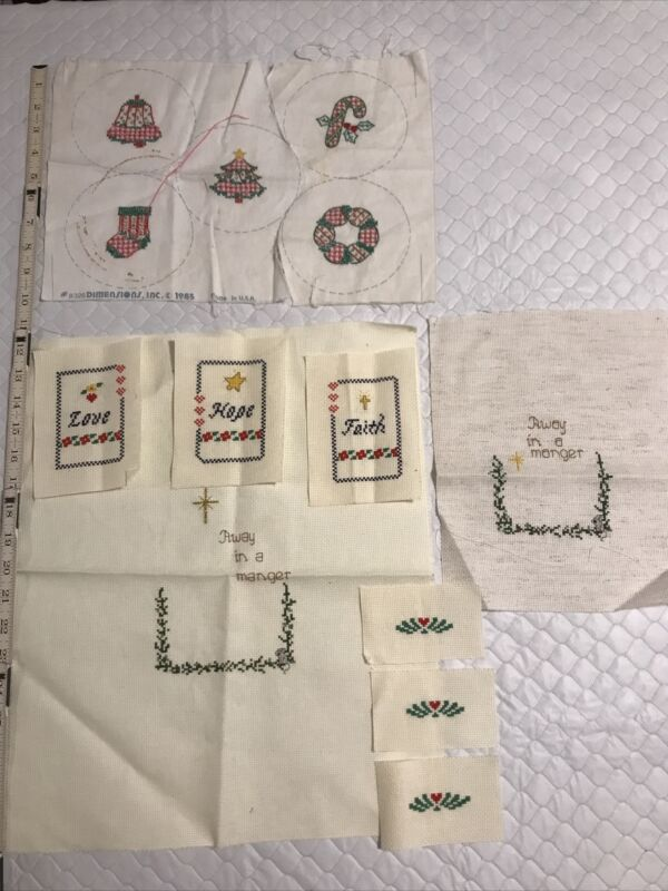 Finished CHRISTMAS cross stitch pieces for craft job lot