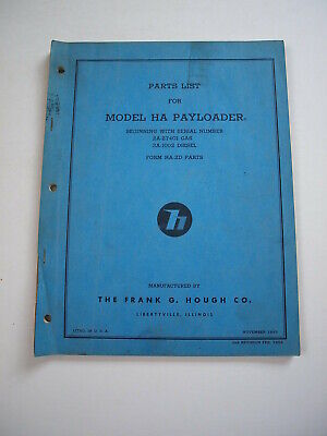 Ih Hough Ha Front-end Wheel Pay Loader Tractor Parts Catalog Manual List 2a3a
