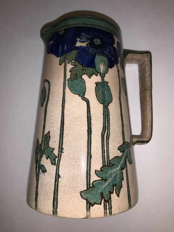 Rare Antique Royal Doulton Blue POPPIES B Art Nouveau Pitcher