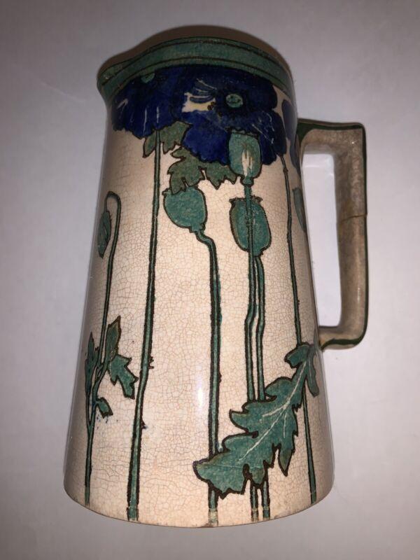 Rare Antique Royal Doulton Blue POPPIES B Art Nouveau Pitcher