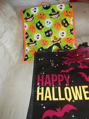 Lot of 2 Halloween Trick or Treat Heavy Duty Bags with Handles - Brand NEW