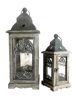 2er Set große Holz Laterne 36-55cm Windlicht Teelichthalter Laternenset shabby , gebraucht gebraucht kaufen  Erftstadt
