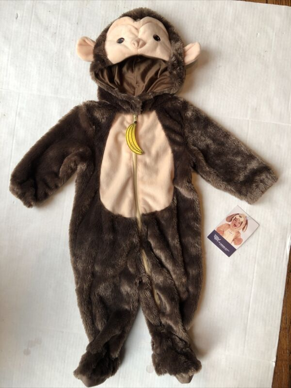 New NWT Humane Society 6 to 9 Months Baby Monkey Halloween Costume Banana Zipper