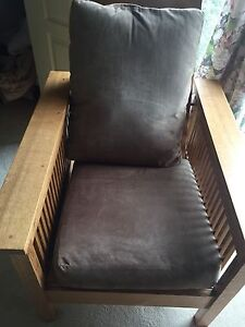 Two Beautiful Hand Made Mission Chairs and Ottoman