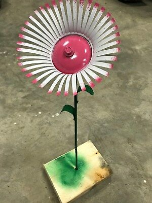 Metal Yard Flowers (All metal pink and white flower garden stake yard art)