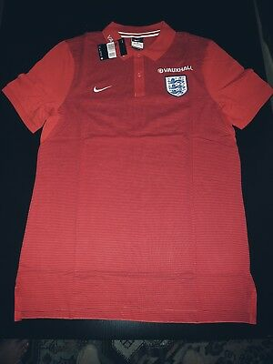 Nike England Vauxhall Men's Polo Shirt Size L Red Original Football Soccer Team