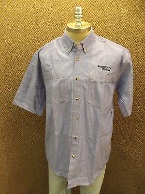 NEW Mercury Marine Outboard Motors Chambray Button Down Short Sleeve Shirt Sz L