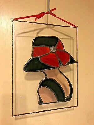 Stained Glass, Day at the Races Lady with Red Bow