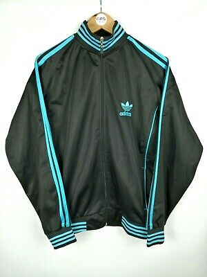 Mens Vintage ADIDAS Trefoil Big Logo Zip Track Top Jacket Black | Large