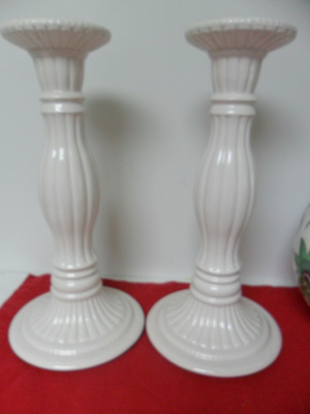 Villeroy and boch pair of large candle holders white molded 10 tall offictab