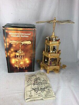 Large Dayton Hudson 3 Tier Christmas Wooden Nativity Carousel Candle Holder 1994