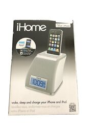 iHome White & Gray Alarm Clock iPhone - iPod Speaker Dock - Free Shipping
