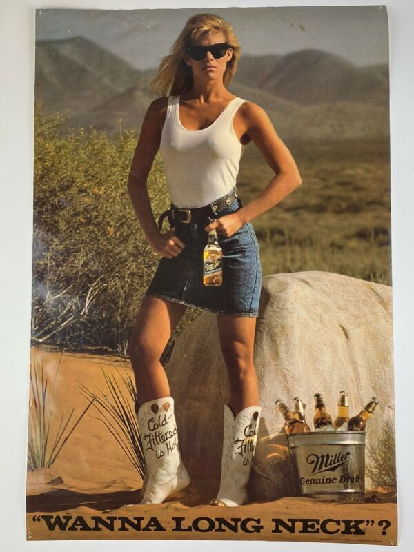 Vintage Miller Genuine Draft Beer Poster Sexy Cowgirl Wanna Long Neck Hot Babe