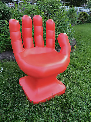 "GIANT Dark Orange HAND SHAPED CHAIR 32"" adult size 70's Retro EAMES iCarly NEW"