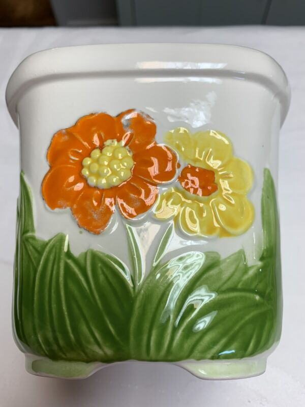 Vintage Retro Orange Yellow Daisy Flower Planter Japan