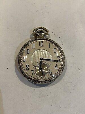 Beautiful Art Deco Elgin White Gold Fill Enameled Men's 17J Antique Pocket Watch