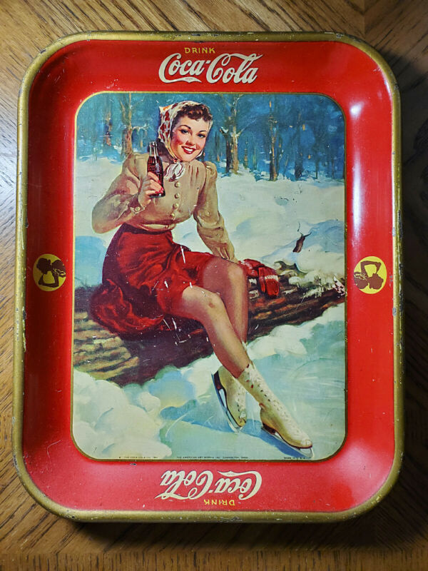 "COCA-COLA 1941 ""ICE SKATING GIRL"" SERVING TRAY AUTHENTIC VINTAGE GOOD CONDITION"