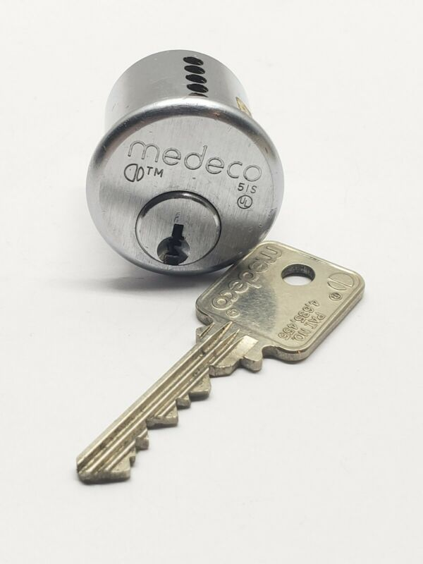 medeco rim lock cylinder, with key, 26D finish, locksmith