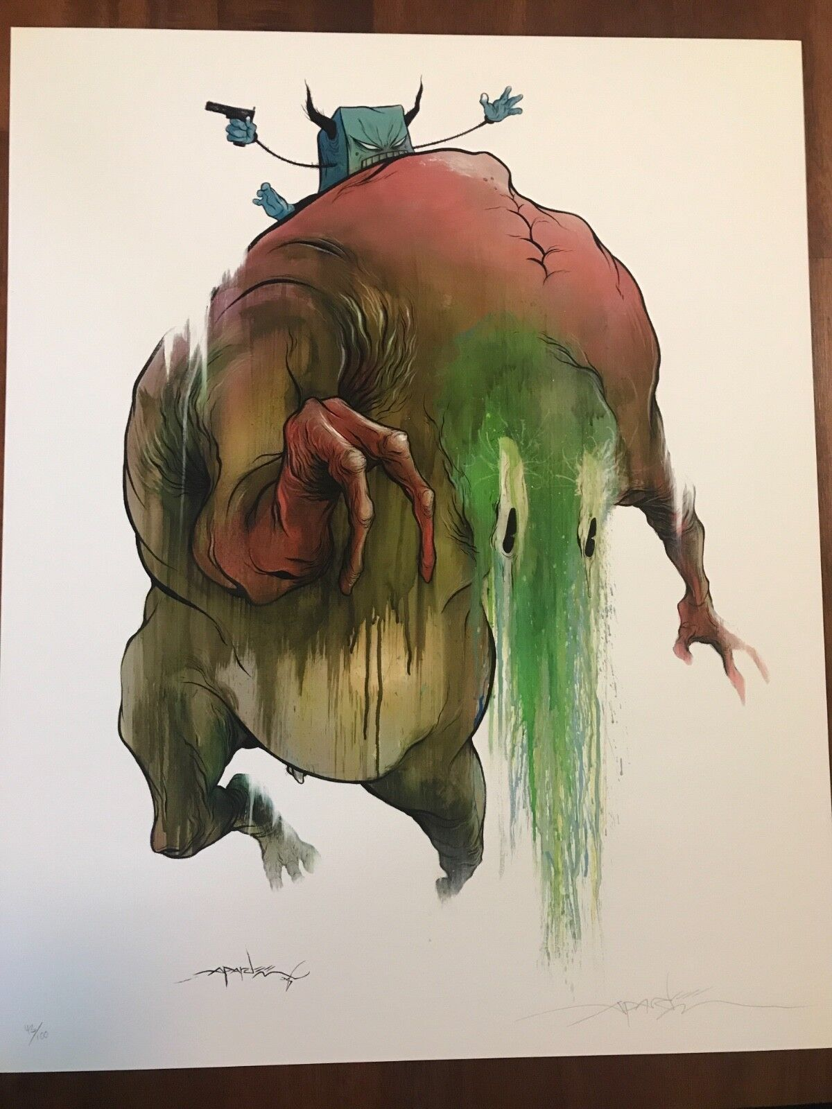 Alex Pardee Riding The Brown Lazy Face Print - $125.00