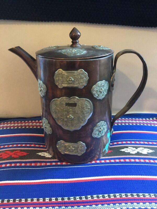 ANTIQUE Art Nouveau Deco Craftsman Style Teapot Copper Silver Ornate Overlay