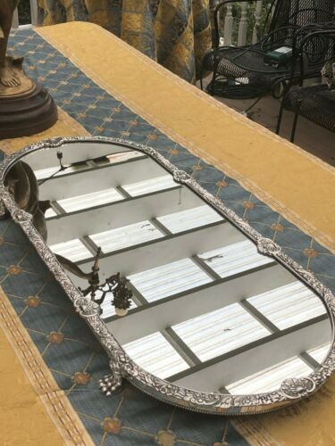 English Victorian Silver Plate Long Narrow Mirrored Plateau – 31 inches