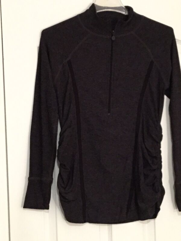 BEYOND THE BUMP Yoga Dk Grey/Black Long Sleeve Maternity Top. Sz Sm. Excel Cond