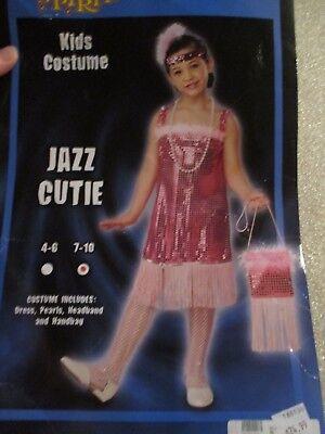 Spirit Girls Halloween Costume Jazz Cutie Shiny Pink Flapper Dress Sz Med 7-10
