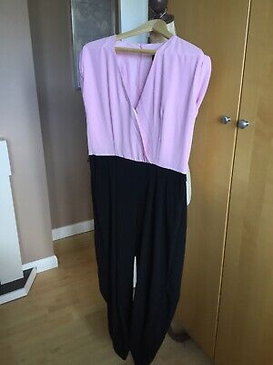 Ladies River Island Pink, Black Jumpsuit, Size 14, Fantastic, Preowned