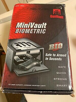 Gunvault GVB1000, Biometric Mini Vault Pistol Or Gun Safe-New In Box