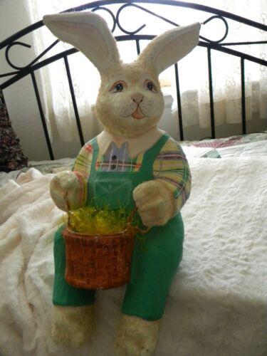 "vintage Large 20"" handmade paper mache bunny rabbit, shelf sitter"