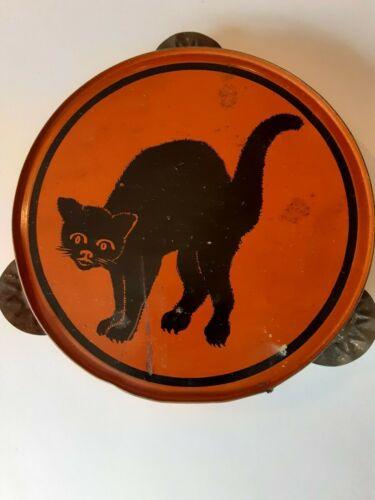 Old Vintage Tin Metal Halloween Tambourine Noisemaker Back Cat Kirchhof 1930s