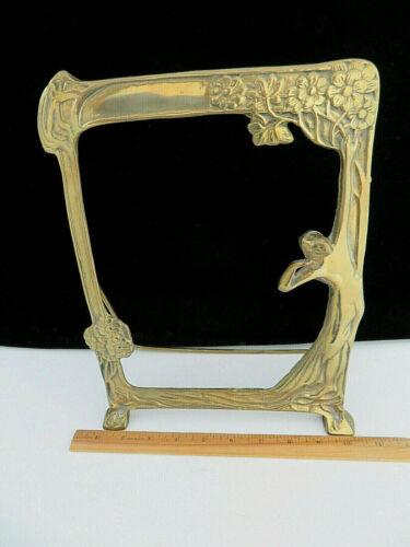 Brass Art Nouveau / Art Deco SEMI-NUDE WOMAN / Mirror Picture Frame