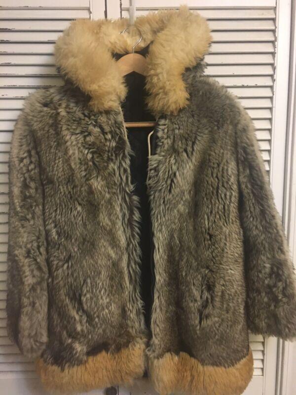 Vintage Sheepskin Eskimo Parka Handmade Alaska USA Women's Small FOR REPAIR