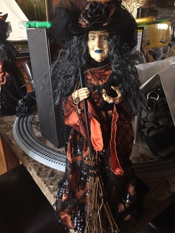 Fancy Halloween Witch Gold Decorative Doll Figurine  Display Collectible