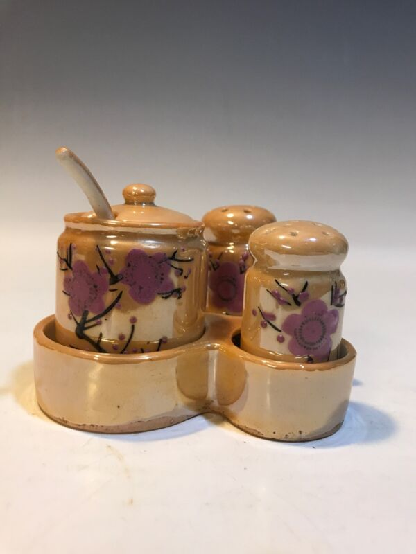 Lusterware Moriage Condiment Set Salt & Pepper Shakers Spoon Vintage Japan