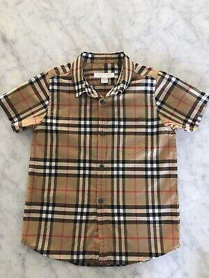 Burberry Boys Fred Check Vintage Check Short Sleeve Shirt 6Y