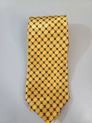 Gianni Versace Tie Gold Yellow Geometric Diamond Pattern Made in Italy 58 X 3.75