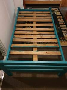 King single wooden bed frame with mattress